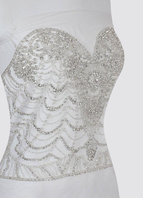 Top blusa rebordeado bordado vestido de novia apliques de