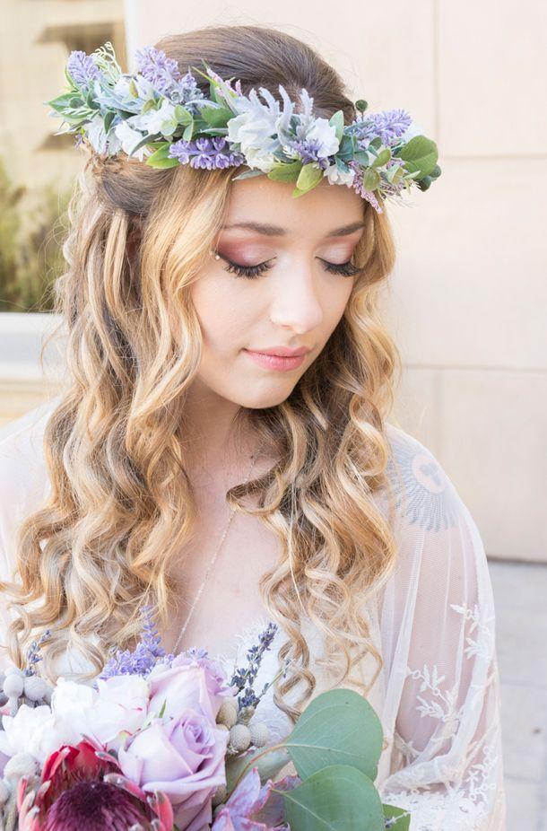 Lavender purple boho bridal style | Peterson Design & Photography | See more on My Hotel Wedding: https://www.myhotelwedding.com/blog/2016/11/15/manhattan-beach-wedding-ayres-hotel