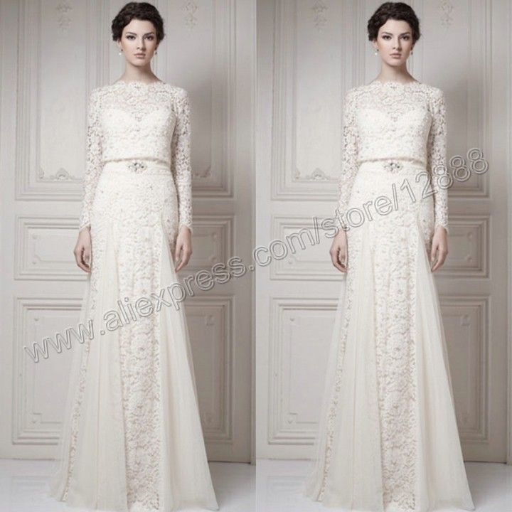 The Ivory Tulle and Lace Floor Length Muslim Wedding Dress Long Sleeve 2014 Free Shipping Bridal US $229.99