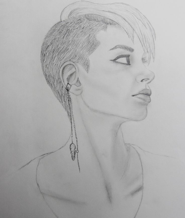 Drawing Of Shaved Head Punk Girl Undercut Hairstyle Art