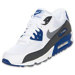 Men's Nike Air Max 90 Essential Running Shoes| FinishLine.com | White/Cool Grey/Deep Royal Blue