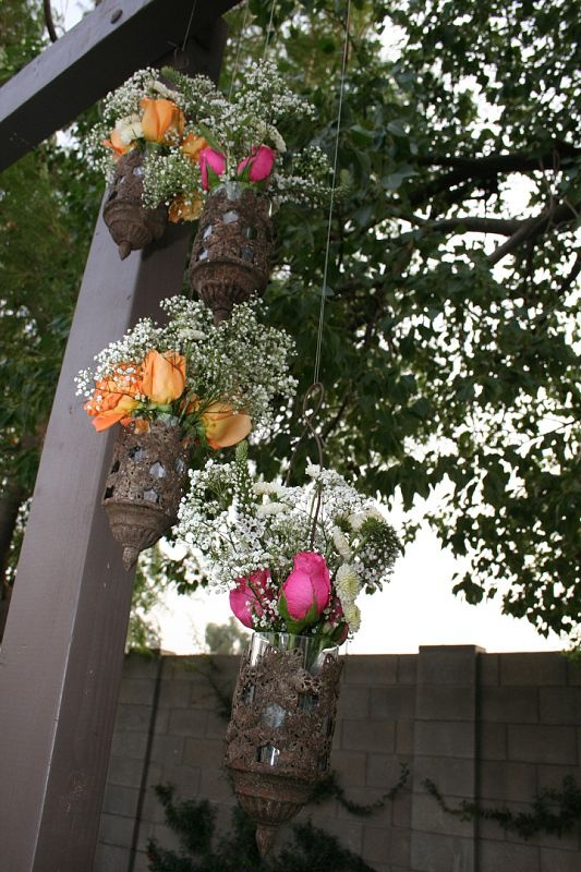 pretty lanterns with roses for our arbor <3 #wedding #arbor