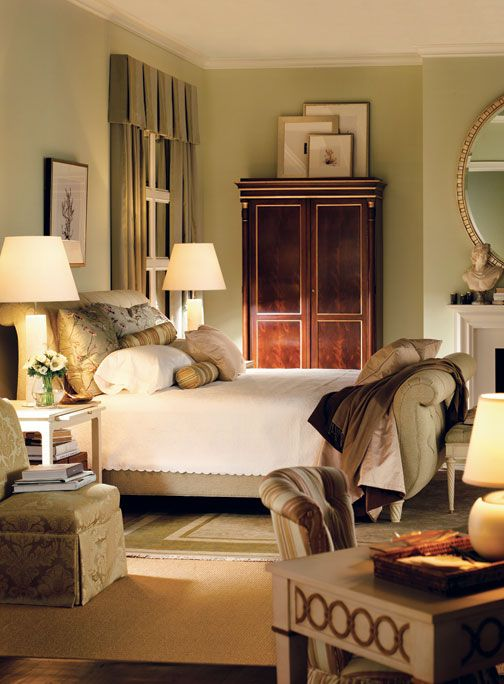 green.: Gorgeous Bedrooms, Wall Colors, Sleigh Beds, Soft Colors, Master Bedrooms, Alexa Hampton, Cozy Bedrooms, Beautiful Bedrooms, Elegant Bedrooms