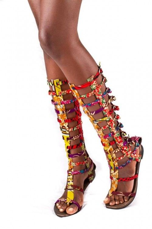Ghana's Diva Delicious Launches African Print Gladiator Sandals!!   FashionGHANA.com (100% African Fashion)