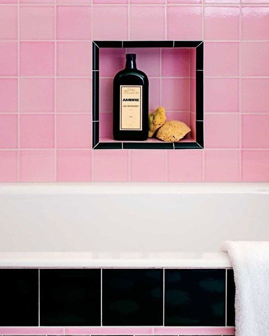 Azulejos Baño Color Rosa:Pink and Black Bathroom