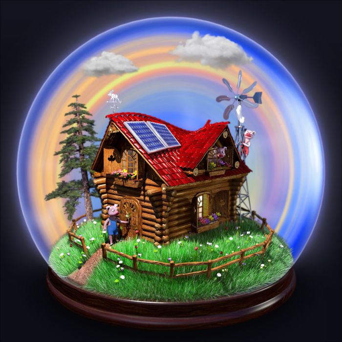 3 Little Pigs Snow Globe, 3D illustration : by Disko Ferdi Dick