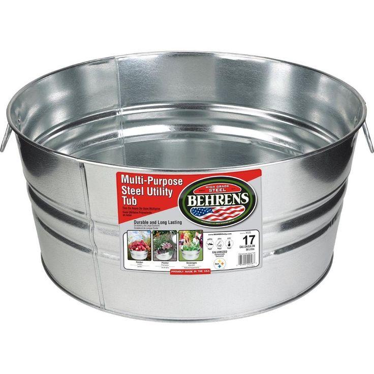 Behrens 17 gal galvanized steel round tub3gsx