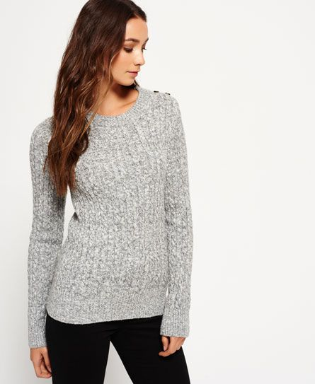 Superdry Croyde Twist Cable Crew Jumper Grey in small