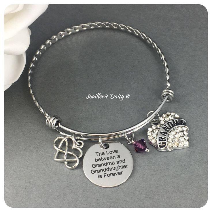 Gift for Grandma Bangle Bracelet The Love between a Grandma and Granddaughter is Forever Grandmother Birthday Gift Idea Charm Bracelet by dcjoaillerie on Etsy https://www.etsy.com/ca/listing/555442042/gift-for-grandma-bangle-bracelet-the