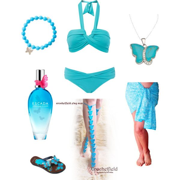 Turquoise Butterflies by crochetfield on Polyvore featuring moda, Seafolly, Sydney Evan and ESCADA