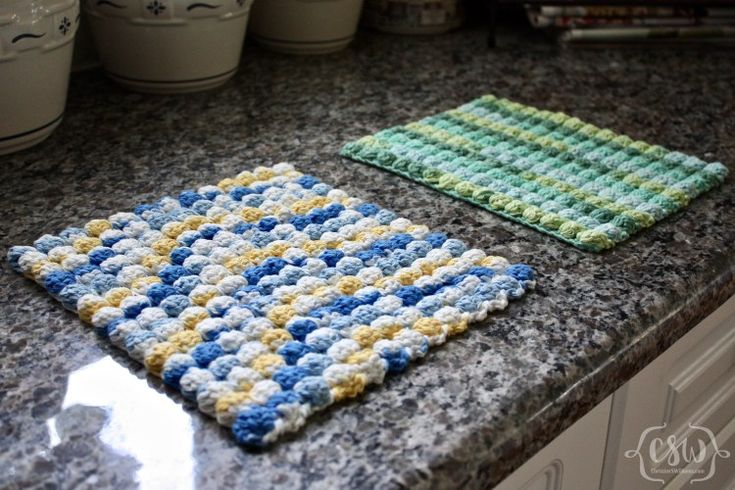 Easy Bobble Stitch Hot Pad - Free Crochet Pattern on Colorful Christine