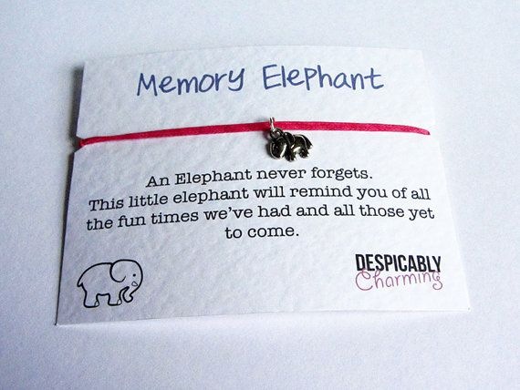Elephants Never Forget Friendship Bracelet by DespicablyCharming   please get me this :)
