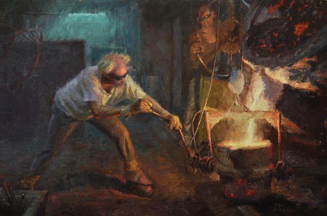 Εργαζόμενοι σε χυτήριο  Λάδι σε λινό