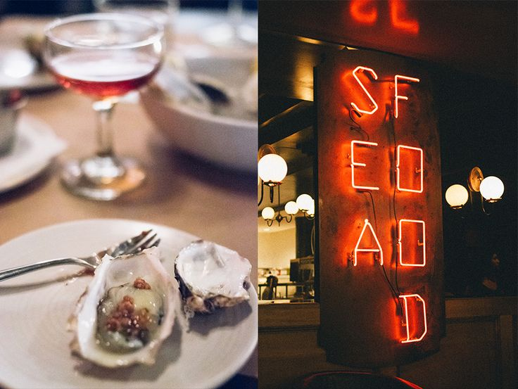 Seafood neon sign + oysters Blackbird Public House - Donnelly Group http://lunchwithluch.com/