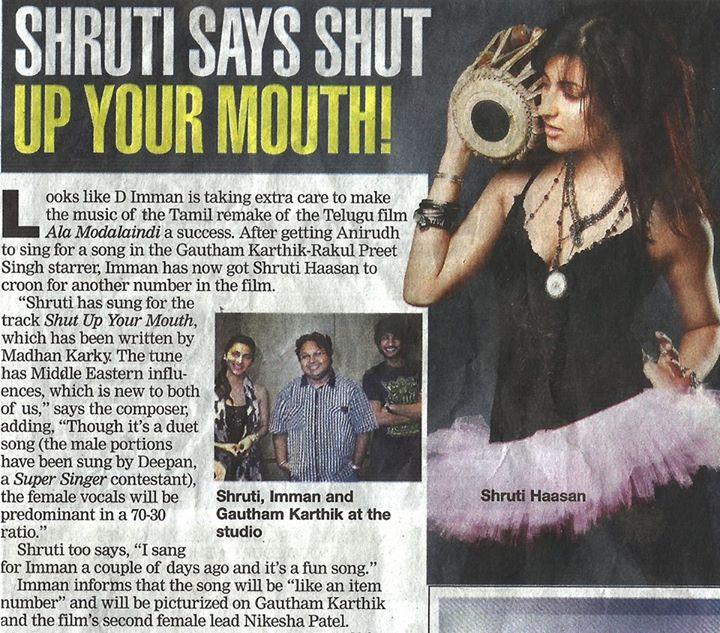 Joining hands with Shruti Hassan and debut Singer Deepak for Gautam karthik's next movie, Directed by Ravi thayagarajan
