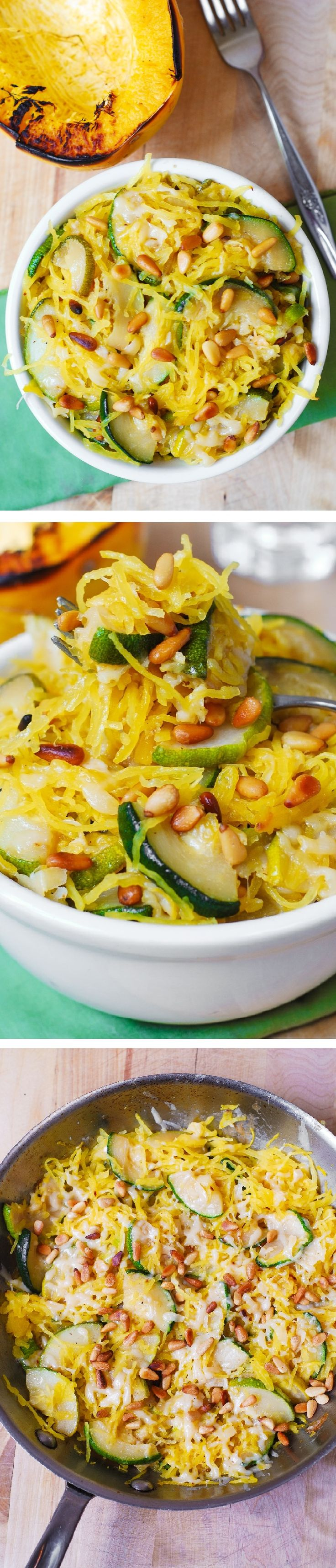 Zucchini cooked with garlic in olive oil, mixed with spaghetti squash, topped with melted, freshly grated, Parmesan cheese AND then sprinkled with toasted pine nuts. Delicious, healthy, gluten free, v (Nut Squash Recipes)
