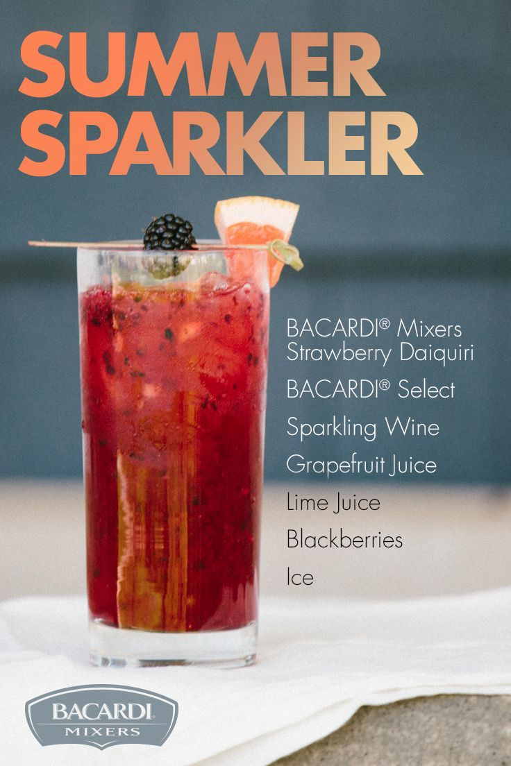 Make the Summer Sparkler the highlight of your next afterdark get-together! Simply mix up this summertime magic with BACARDI Mixers Strawberry Daiquiri, sparkling wine, grapefruit juice, lime juice, blackberries, and your favorite rum.