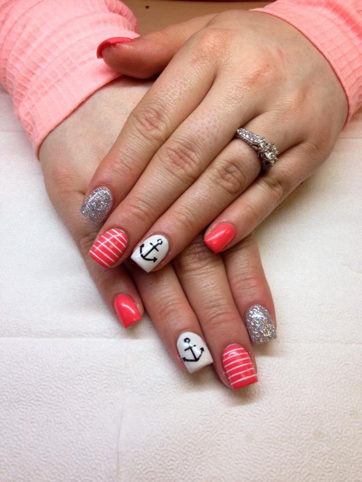 Anchor coral summer 2014 gel nails