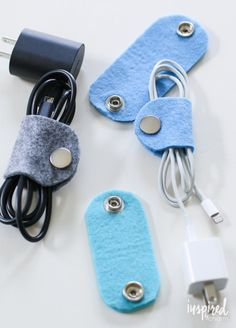 DIY Felt Cable Organizers - travel accessories / travel organization via inspiredbycharm.com
