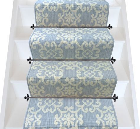 Traditional light grey and cream pattern stair runner from Axminster Carpets. British wool rich stair carpet runner.