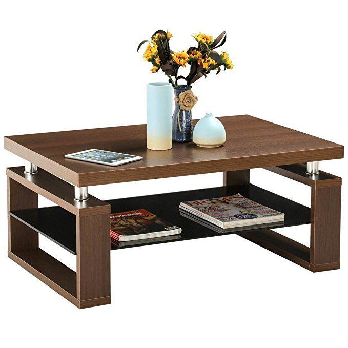 Yaheetech Living Room Rectangular Wood Top Coffee Tables Chrome