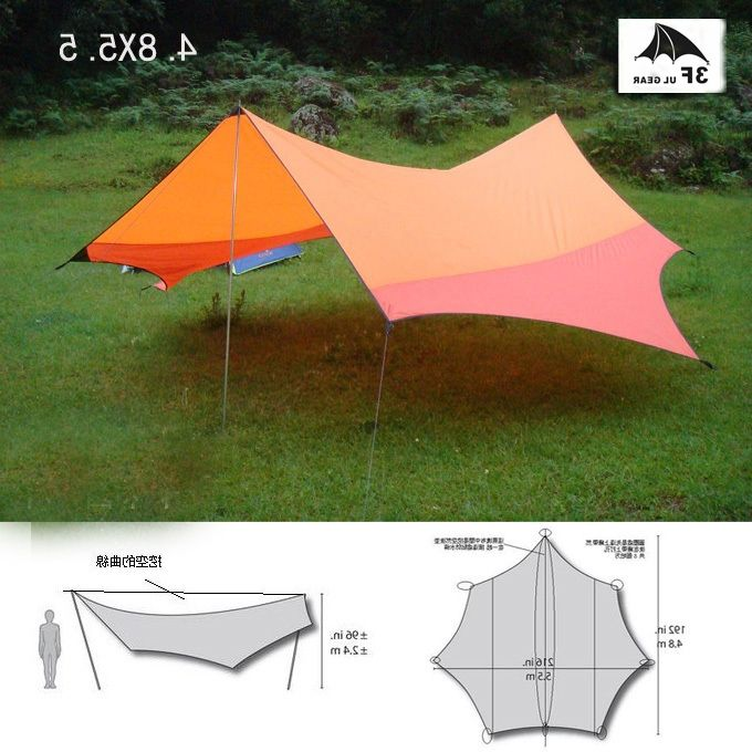43.18$  Watch here - http://ali60y.worldwells.pw/go.php?t=32558192177 - 3F UL gear 5.5*4.8m Anti UV ultralight sun shelter high quality large tarp awning sun canopy 8 Angle tent without poles