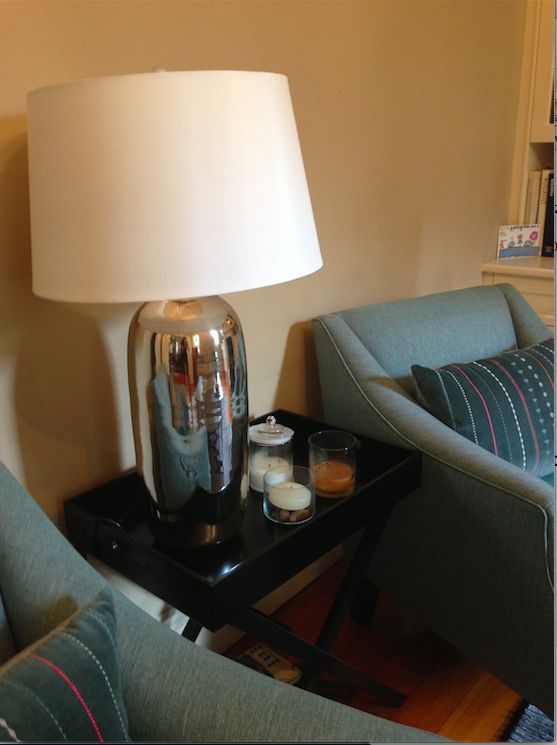 Lilyfield project:  sourced mercury lamp and upholstered armchairs in custom fabric.