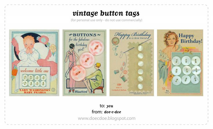 Free printable Vintage Button tags