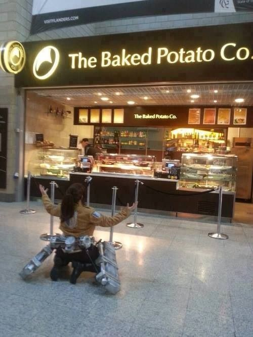 What a convenient place for a Sasha from Attack on Titan cosplay. Shingeki no Kyojin #snk