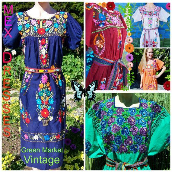 Robe mexicaine, Orange mexicaine robe, robe de brodé, brodé mexicain, jour de la morte, robe de Frida Kahlo, taille S / M