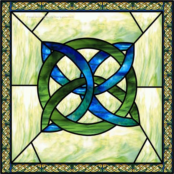 Celtic Knot Square Blue Faux Privacy Stained Glass Clings