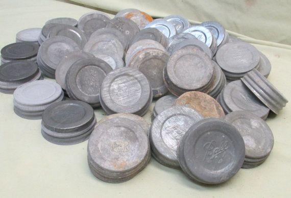Large Lot 50 Zinc Lids Canning Fruit Jars Ball Mason Blue Jar Country Decor A1 39 Salem 39 S Lot