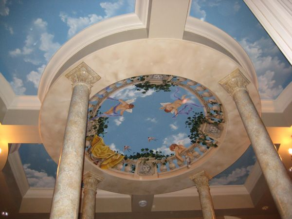 painted ceiling murals using trompe lu0027oeil and faux finishes to create illusions on vaulted coffers or flat have become a specialty of art