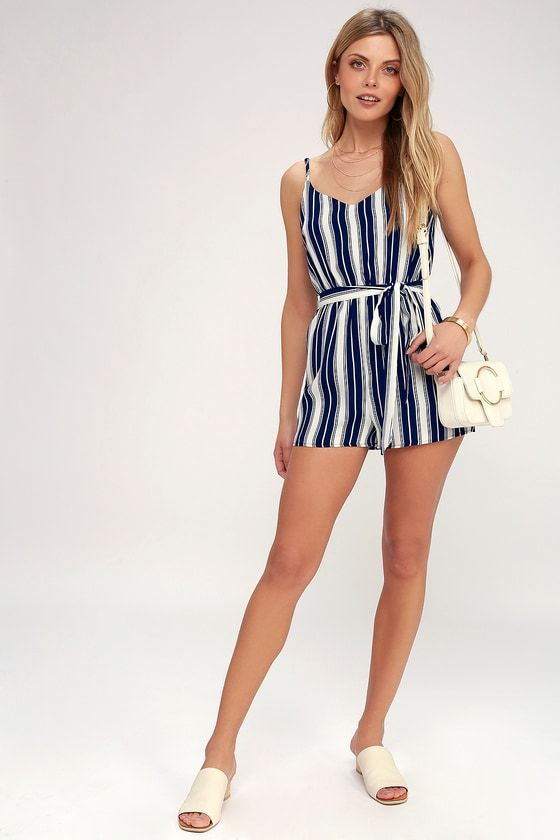 9f9ed5f9383 Carraway Navy Blue and White Striped Romper in 2019