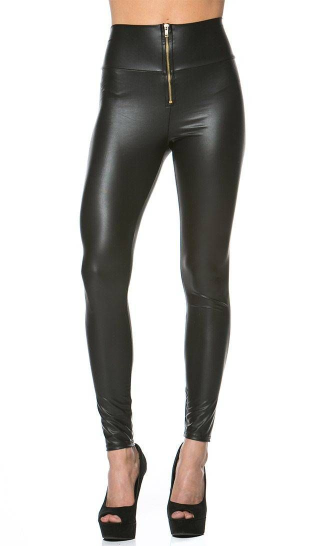 090661ba0e901 Zipped High Waisted Faux Leather Leggings in Black