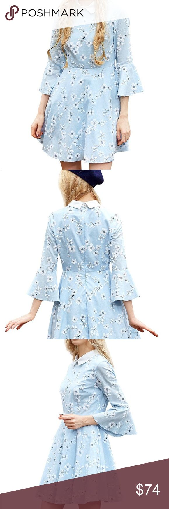 Pale blue dogwood dress Pale blue dress with white flowers and satin-y collar. This is beautiful! If it doesn't sell by Easter, I'm keeping it! Dresses Mini