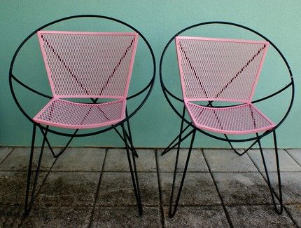 ☼Lounges Chairs, Vintage Pink, Interiors Design, Patios Chairs, Mid Century, Atoms Pink, Folding Chairs, Midcentury, Black