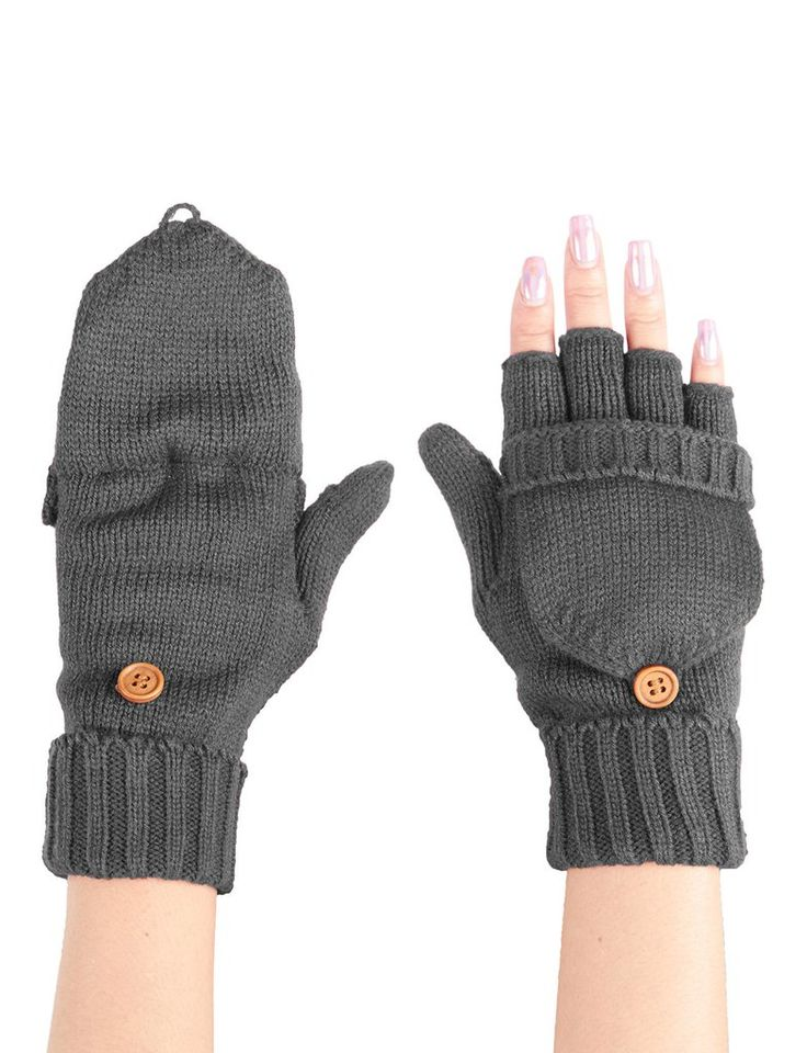 LE3NO Womens Winter Knitted Fingerless Texting Gloves with Mitten Cover