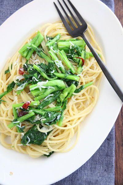 春の味覚「菜の花」を使ったオイルパスタ。菜の花の味を活かすために味付けはシンプルに。