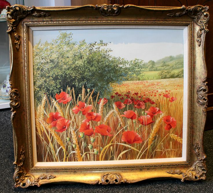 Original oil painting by Mary Dipnall of poppies in a cornfield. Signed by artist in bottom right corner. Framed size measures 23 inches by 21 inches. Visible painting measures 17.5 inches by 15.5 inches.