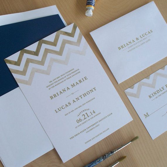 Chevron Wedding Invitation, Modern Invitation, Watercolor Invitation, Elegant Invitation on Etsy, $3.75