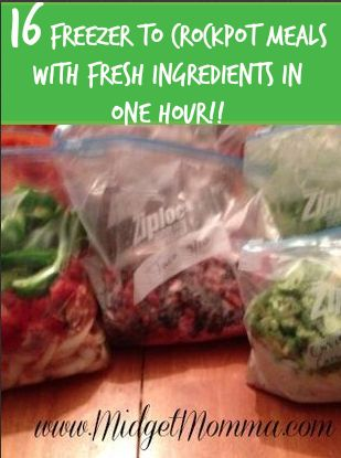Prep 16 freezer to crockpot meals in an hour made with FRESH Ingredients. Prep ahead of time and then in the morning put the meal in the crock pot and at dinner time you will have a great meal! Perfect for the busy school year!!!