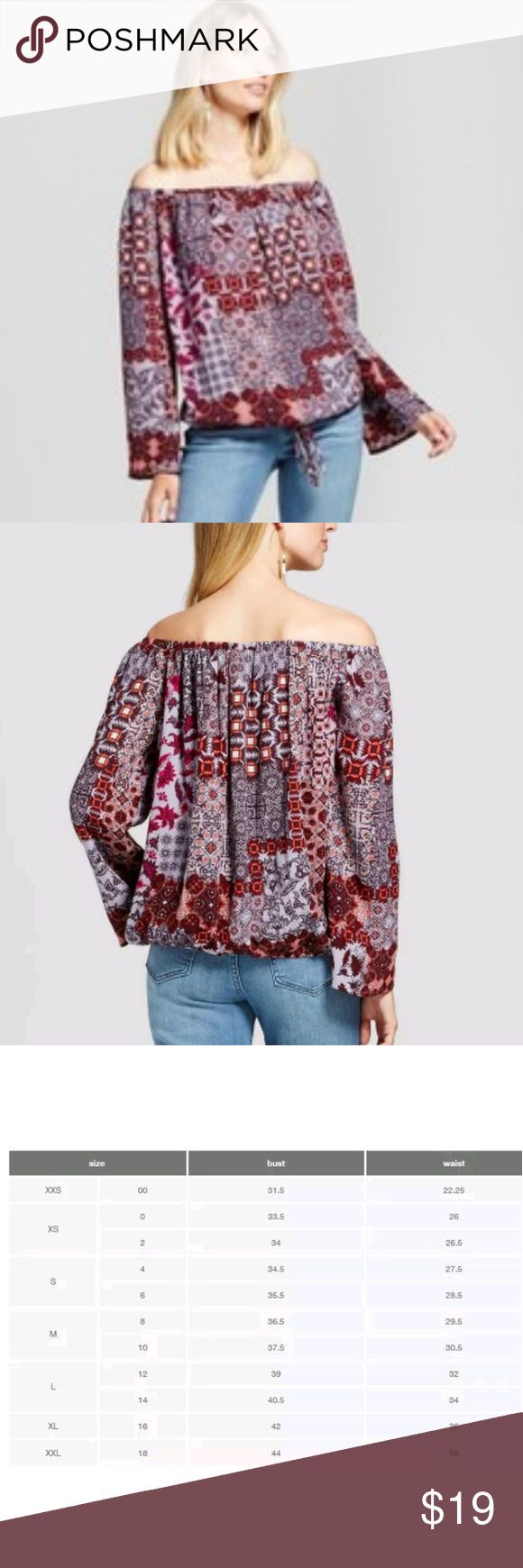 Arriving Next Week! Boho Off Shoulder Printed Top Super chic Boho style off shoulder top.  Beautiful wine colors, lightweight and loose fitting this top can be tied at the waist or down by your hips I you want that bubble effect.    Pairs great with jeans and flare bottoms!  Pictures and measurements pending arrival!   Size XXL 18 Knox Rose Tops Blouses