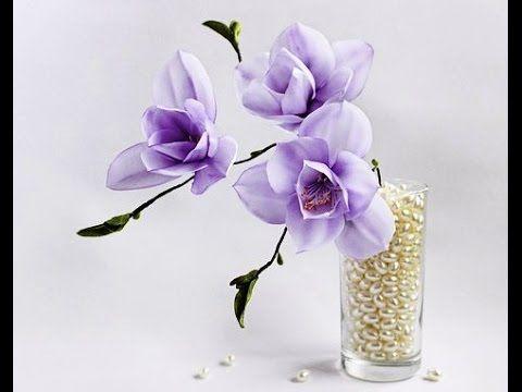 Ribbon flowers: magnolia/tutorial/Цветы из лент: магнолия. МК - YouTube