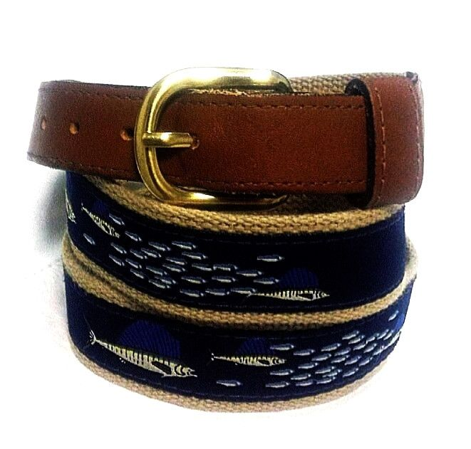 Zep-Pro USA- Canvas/Leather 'Blue Marlin' Embroidered Novelty Belt- size 40