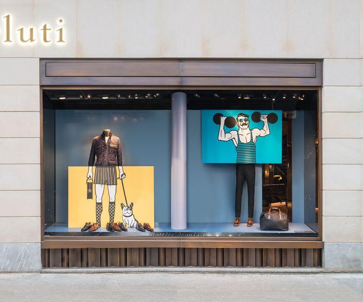 Lawerta ilustra en París los escaparates de la firma de alta costura Berluti