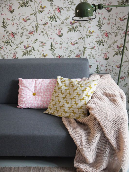 My Colts cushion in the home of Iris Rietbergen, on Decor8 @Holly Becker. Lovely colour combo