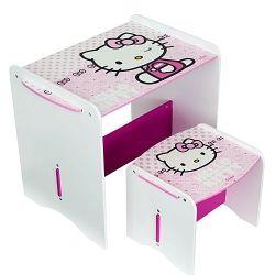 Hello Kitty Bureau met krukje  Het Hello Kitty bureau met krukje is voorzien een prachtige Hello Kitty opdruk. Ideaal om aan te knutselen, eten of tekenen. Met het compacte formaat, kan dit bureau overal in huis worden geplaatst. Een te gek bureau voor echte Hello Kitty fans!