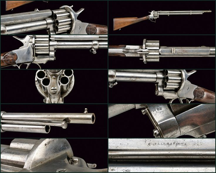 """Le Mat two-barrel Revolving Carbine   provenance: Belgium dating: third quarter of the 19th Century   description: Round, rifled, 11 mm cal. barrel with octagonal base, signed """"COL. A. LEMAT BR.te"""" at the sides, with rear-sight and foresight: the second barrel is round, smooth, 13 mm cal., featuring the stamp of the Liège test bench; nine-chamber, grooved cylinder with loading gate, smooth, iron frame; central hammer with folding f"""