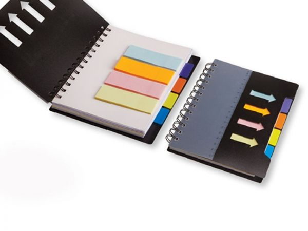 Spiral Notebook with Sticky Notes & Flags Product dimentions: 18x14x1 printing: Silk Screen Colours available:Black
